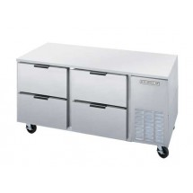 "Beverage Air UCRD67A-4 Two-Section Stainless Steel Rear-Mounted 67"" x 32"" Undercounter Refrigerator"