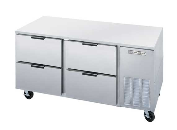 """Beverage Air UCRD67A-4 Two-Section Stainless Steel Rear-Mounted 67"""" x 32"""" Undercounter Refrigerator"""