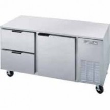 "Beverage Air UCRD72A-2 Three-Section Stainless Steel Rear-Mounted 72"" x 29"" Undercounter Refrigerator with 2 Drawers"