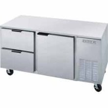 """Beverage Air UCRD72A-6 Three-Section Stainless Steel Rear-Mounted 72"""" x 29"""" Undercounter Refrigerator"""