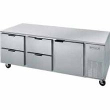 "Beverage Air UCRD93A-4 Three-Section Stainless Steel Rear-Mounted 93"" x 32"" Undercounter Refrigerator"