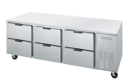 """Beverage Air UCRD93A-6 Three-Section Stainless Steel Rear-Mounted 93"""" x 32"""" Undercounter Refrigerator"""