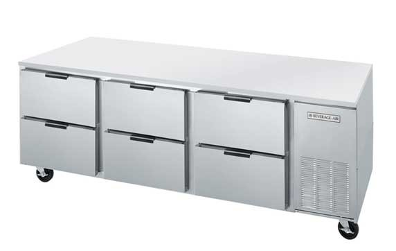 "Beverage Air UCRD93A-6 Three-Section Stainless Steel Rear-Mounted 93"" x 32"" Undercounter Refrigerator"