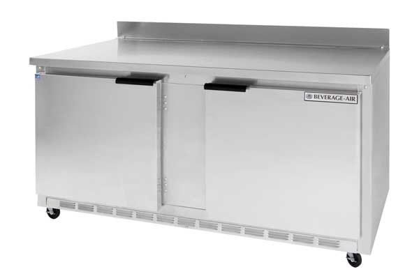Beverage Air WTR60A Stainless Steel Top/Rear Splash Worktop Refrigerator with 2-section