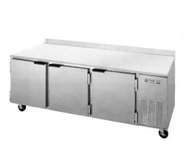 Beverage Air WTR93A Three-Section Stainless Steel Top/Rear  Splash Worktop Refrigerator