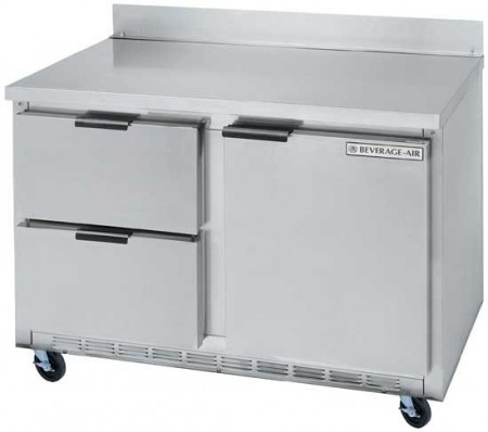 Beverage Air WTRD48A-2 2-Section Stainless Steel Top/Removable Rear Splash Worktop Refrigerator