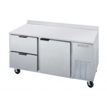 Beverage Air WTRD67A-2 Two-section Stainless Steel Top/Removable Rear Splash Worktop Refrigerator