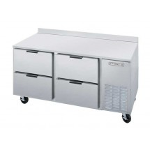 """Beverage Air WTRD67A-4 35.5"""" Two-Section Stainless Steel Top/Removable Rear Splash Worktop Refrigerator"""