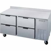 "Beverage Air WTRD93A-4 Three-Section 93"" x 32""  Stainless Steel Top/Removable Rear Splash Worktop Refrigerator"