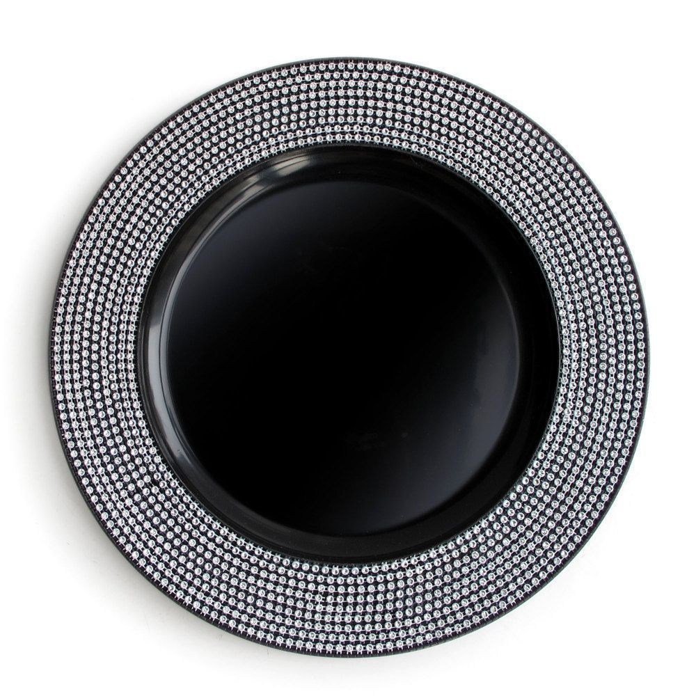 The Jay Companies 1320394 Round Black Diamond Charger Plate 13""