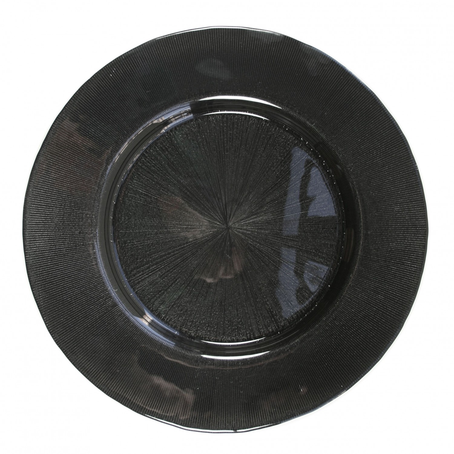 The Jay Companies 1900016 Round Black Glass Starburst Charger Plate 13""