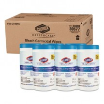 Clorox Healthcare Bleach Germicidal Wipes, 6 x 5, Unscented, 150/Canister, 6 Canisters/Carton
