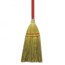 """Blended Straw Toy Broom, Red Headband, 24"""" Red Wooden Handle, 12/Carton"""