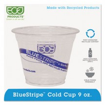 Eco-Products BlueStripe Recycled Content Clear Plastic Cold Drink Cups, 9 oz., 1000/Carton