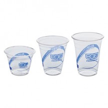 Eco-Products BlueStripe Recycled Content Clear Plastic Cold Drink Cups, 9 oz., 50/Pack