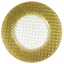 The Jay Companies 1470058 Round Glass Braid Gold Glitter Charger Plate 13""