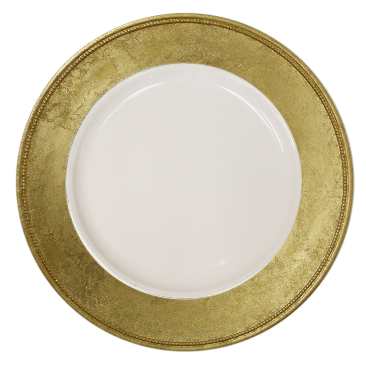 The Jay Companies A466GRK-W Round Gold Leaf Rim Charger Plate 13""