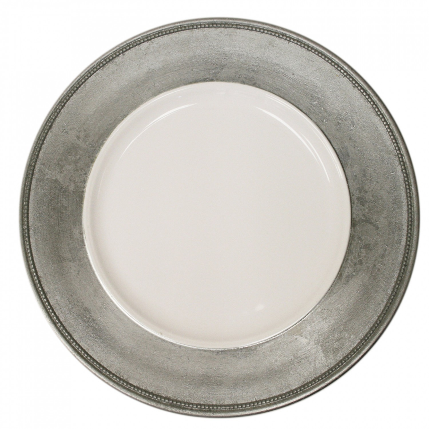 The Jay Companies A466HRK-W Round Silver Leaf Rim Charger Plate 13&