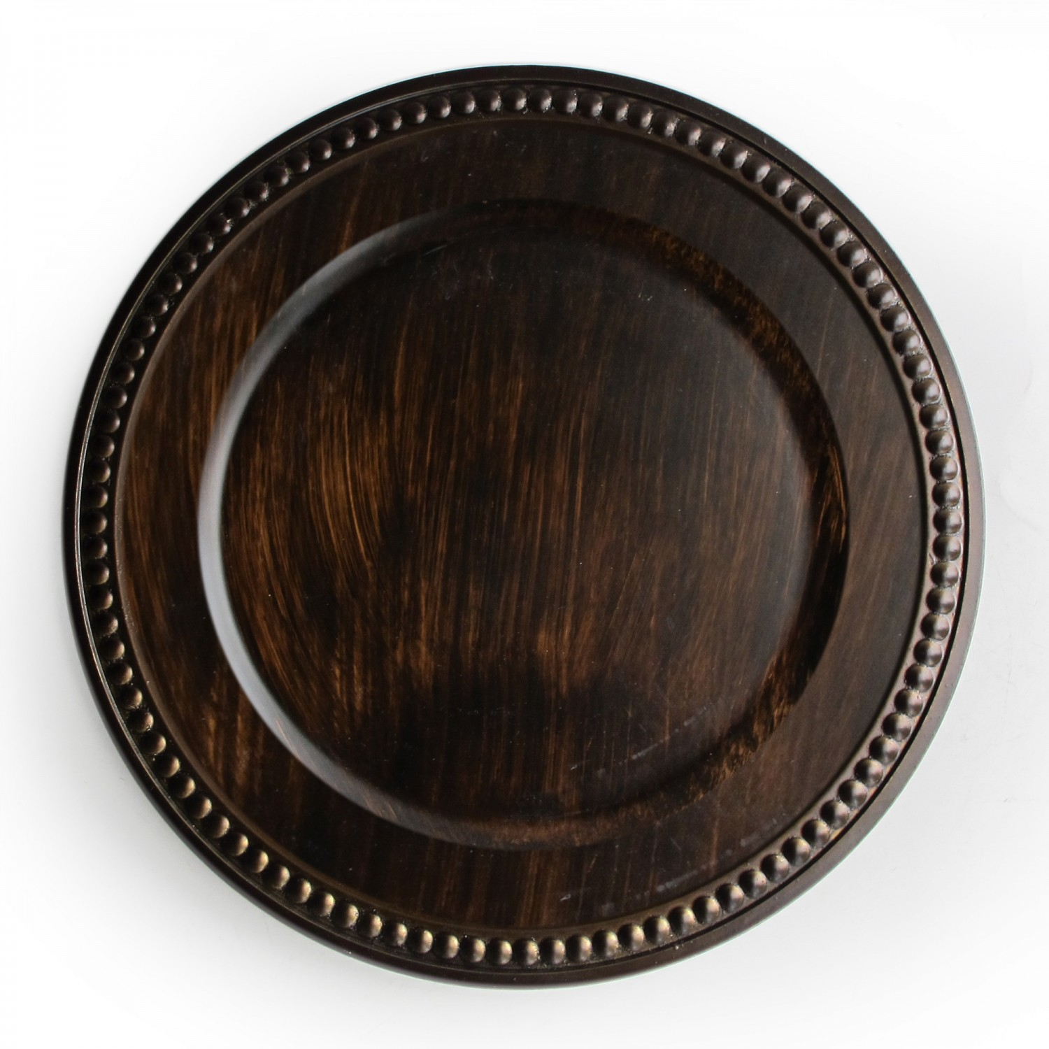 The Jay Companies 1320398 Brown Faux Wood Beaded Charger Plate 14""