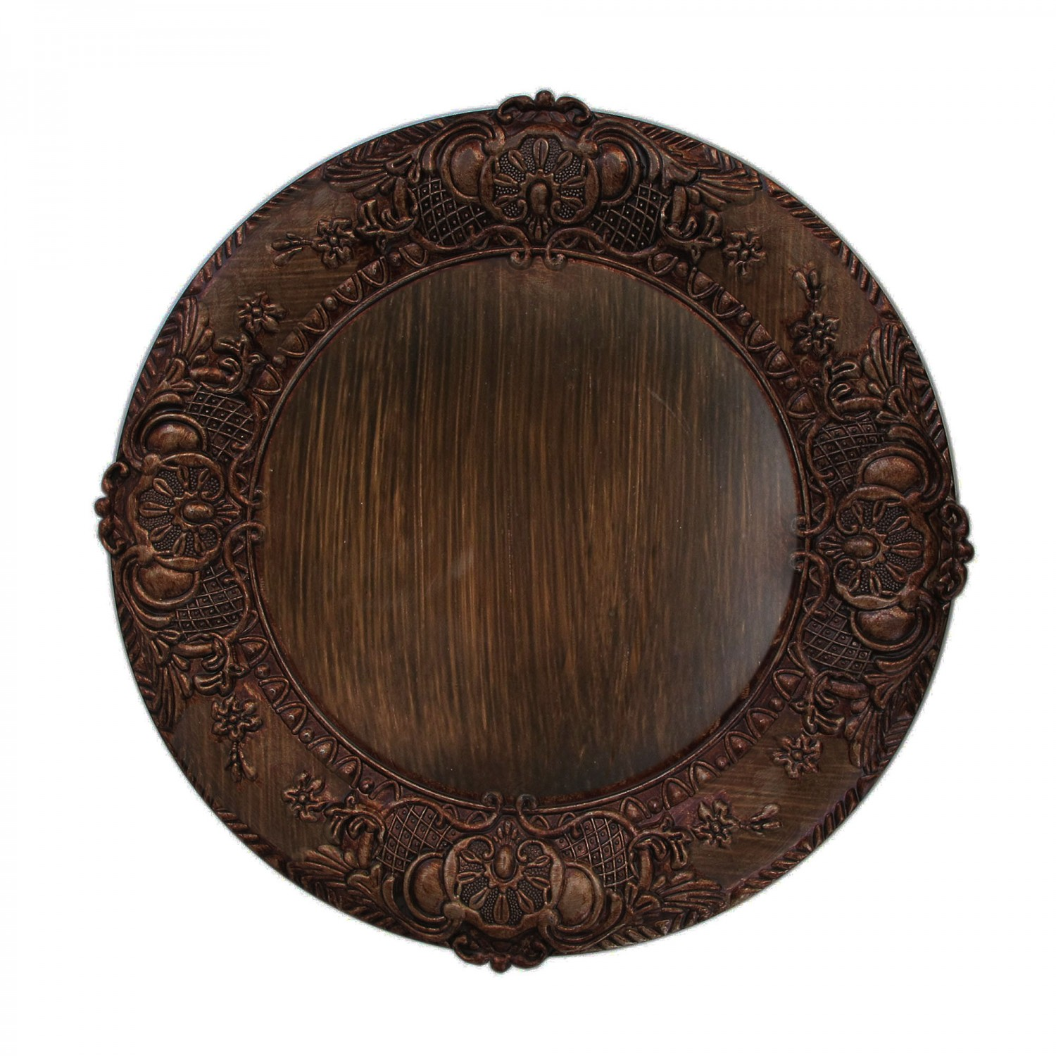 The Jay Companies 1320429 Round Embossed Brown Charger Plate 14""