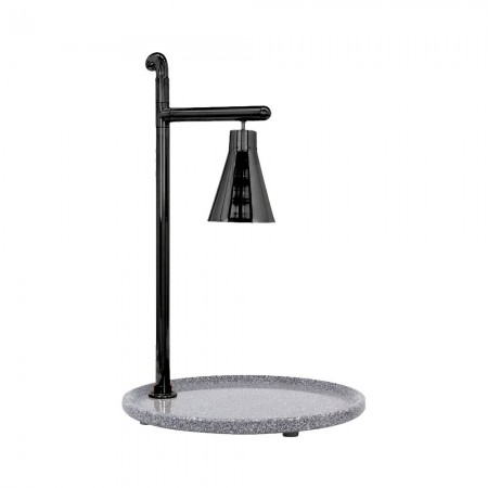Buffet Enhancements 010HCL-GG24RDBL Classic Carving Station with Round Grey Granite Base and Black Lamp 24""
