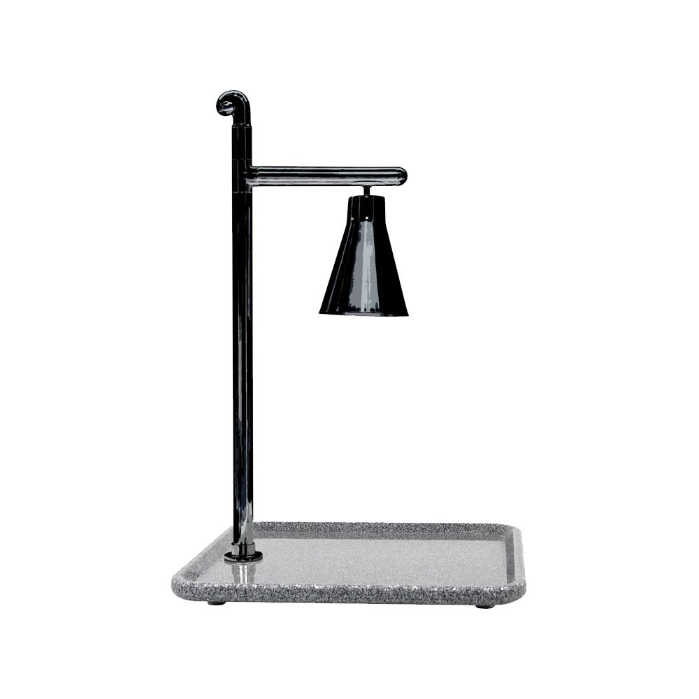 "Buffet Enhancements 010HCL-GG24SQBL 24"" Classic Carving Station with Square Grey Granite Base and Black Lamp"