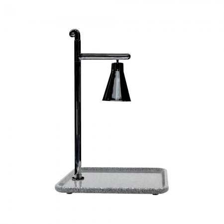 Buffet Enhancements 010HCL-GG24SQBL Classic Carving Station with Square Grey Granite Base and Black Lamp 24""