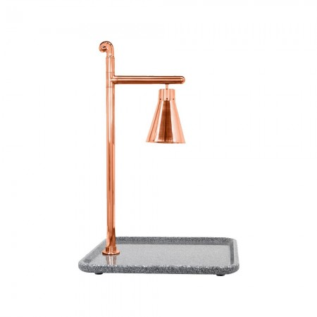 Buffet Enhancements 010HCL-GG24SQCP Classic Carving Station with Square Grey Granite Base and Copper Lamp 24""