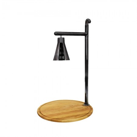 Buffet Enhancements 010HCL-WB24RDBL Classic Carving Station with Round Bamboo Base and Black Lamp 24""