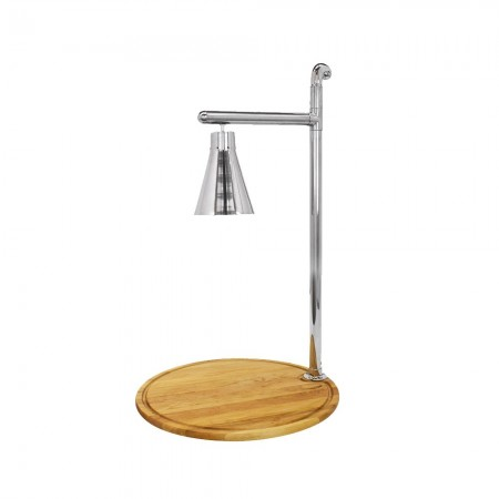 """Buffet Enhancements 010HCL-WB24RDSS Classic Carving Station with Round Bamboo Base and Stainless Lamp 24"""""""