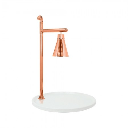 """Buffet Enhancements 010HCL-WG24RDCP Classic Carving Station with Round White Granite Base and Copper Lamp 24"""""""