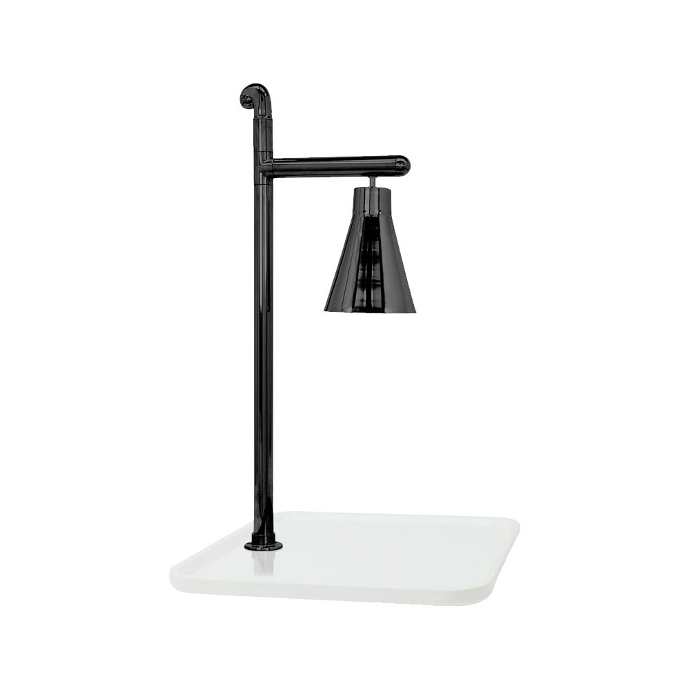 "Buffet Enhancements 010HCL-WG24SQBL 24"" Classic Carving Station with Square White Granite Base and Black Lamp"