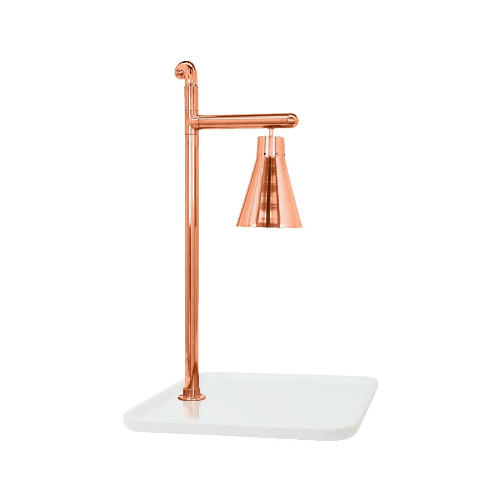 "Buffet Enhancements 010HCL-WG24SQCP 24"" Classic Carving Station with Square White Granite Base and Copper Lamp"