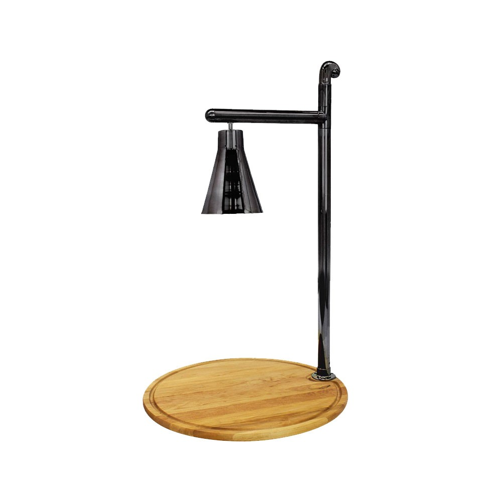 "Buffet Enhancements 010HCL-WM24RDBL 24"" Classic Carving Station with Round Maple Wood Base and Black Lamp"