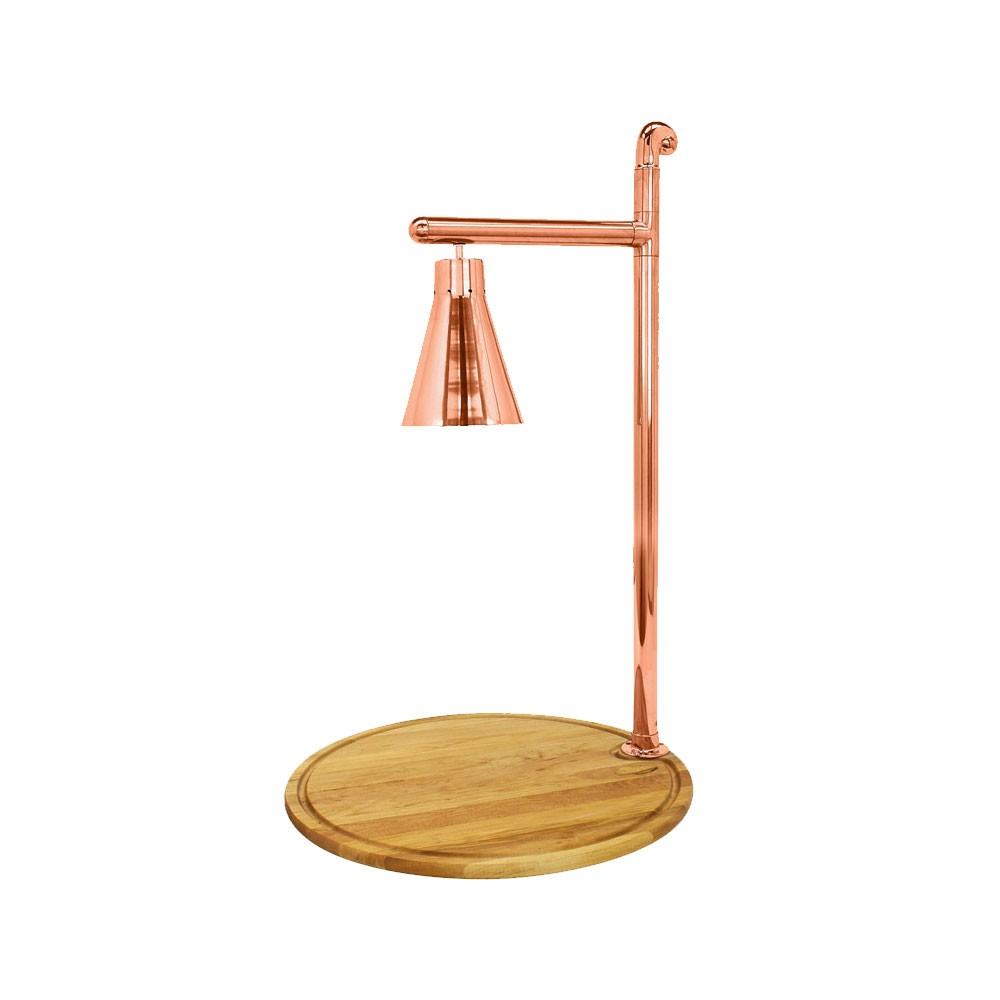 "Buffet Enhancements 010HCL-WM24RDCP 24"" Classic Carving Station with Round Maple Wood Base and Copper Lamp"