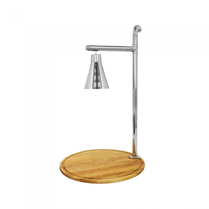 "Buffet Enhancements 010HCL-WM24RDSS 24"" Classic Carving Station with Round Maple Wood Base and Stainless Lamp"