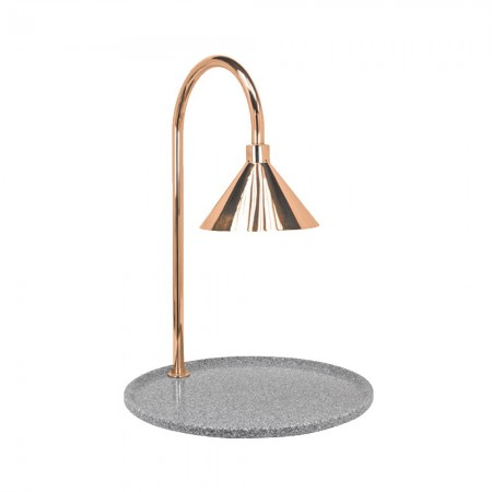 """Buffet Enhancements 010HCLW-GG30RDCP Contemporary Carving Station with Round Grey Granite Base and Copper Lamp 30"""""""