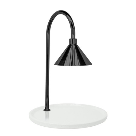 """Buffet Enhancements 010HCLW-WG30RDBL Contemporary Carving Station with Round White Granite Base and Black Lamp 30"""""""