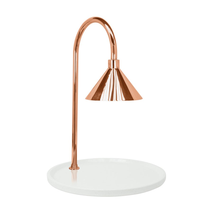 """Buffet Enhancements 010HCLW-WG30RDCP 30"""" Contemporary Round Carving Station with White Granite Base and Copper Lamp"""