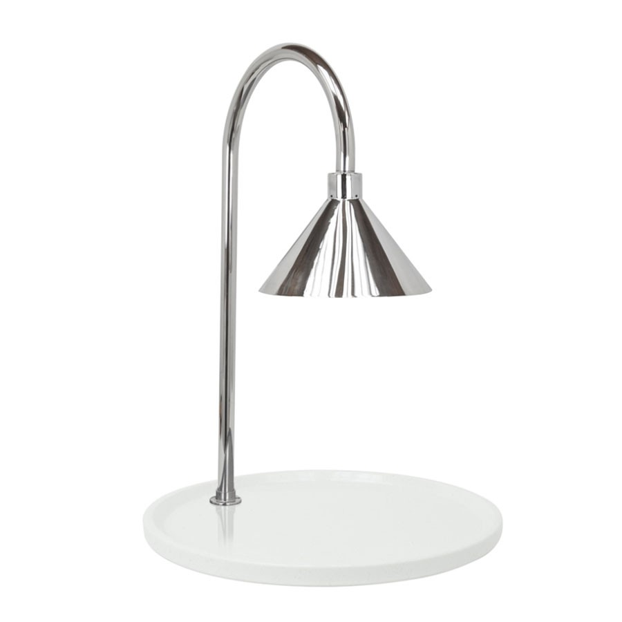 "Buffet Enhancements 010HCLW-WG30RDSS 30"" Contemporary Round Carving Station with White Granite Base and Stainless Steel Lamp"