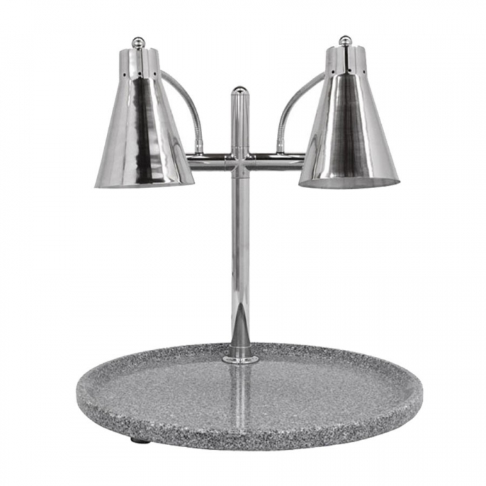 "Buffet Enhancements 010HFD-GG24RD 24"" Carving Station with Round Gray Granite Base, Two Flex Lamps"