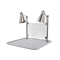 "Buffet Enhancements 010HFD-GG24SQ 24"" Carving Station with Square Gray Granite Base, Two Flex Lamps"