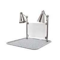 Buffet Enhancements 010HFD-GG24SQ Dual Flex Lamp Carving Station with Square Grey Granite Base