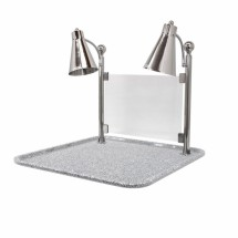 Buffet Enhancements 010HFD-GG24SQSG Carving Station with Square Grey Granite Base, Dual Flex Lamp, and Sneeze Guard 24""
