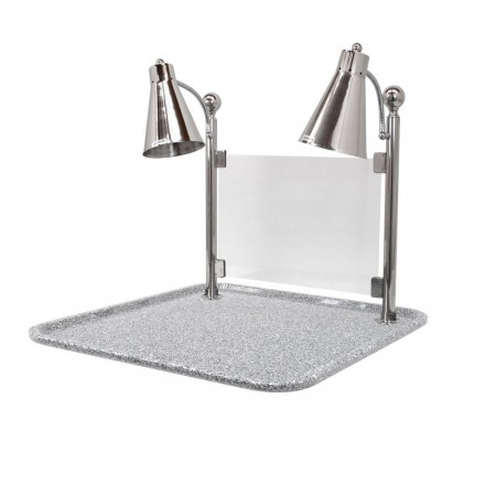 """Buffet Enhancements 010HFD-GG24SQSG Carving Station with Square Grey Granite Base, Dual Flex Lamp, and Sneeze Guard 24"""""""