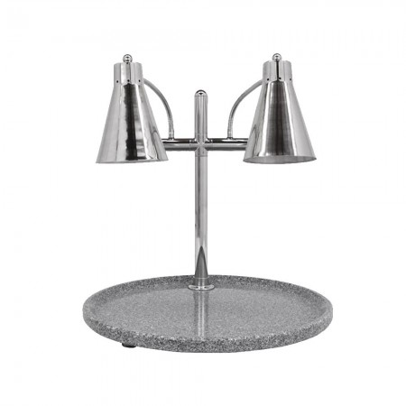 Buffet Enhancements 010HFD-GG30RD Carving Station with Round Grey Granite Base and Dual Flex Lamp 30""