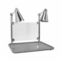 Buffet Enhancements 010HFD-GG30RTSG Carving Station with Rectangular Grey Granite Base, Dual Flex Lamp, and Sneeze Guard 30""