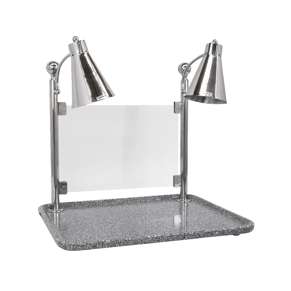 "Buffet Enhancements 010HFD-GG30RTSG 30"" Carving Station with Rectangular Gray Granite Base, Two Flex Lamps, Sneeze Guard"