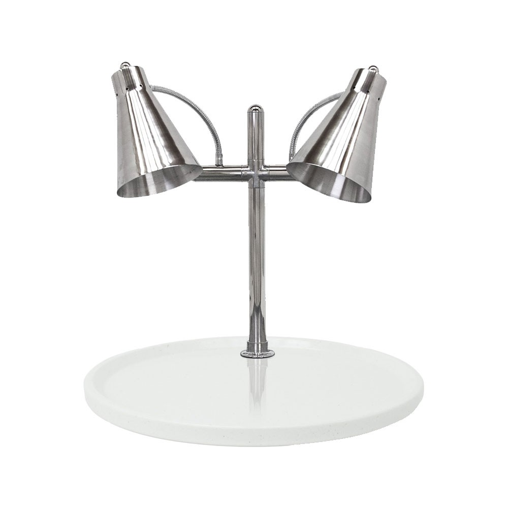 "Buffet Enhancements 010HFD-WG24RD 24"" Carving Station with Round White Granite Base, Two Flex Lamps"
