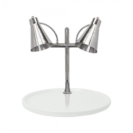 """Buffet Enhancements 010HFD-WG24RD Carving Station with Round White Granite Base and Dual Flex Lamps 24"""""""